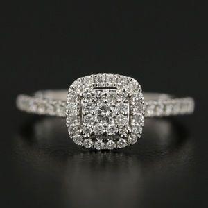 Genuine 14K white gold diamond ring